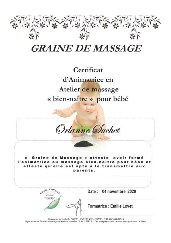 "Certificat massage ""bien-naître"""